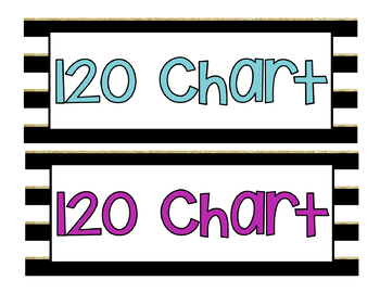 Black, White and Gold Stripe 120 Chart Pieces