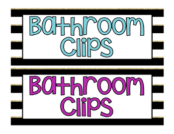 Black, White and Gold Stripe Bathroom Clip Chart and Bathroom Passes