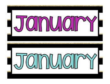 Black, White and Gold Stripe Calendar Pieces
