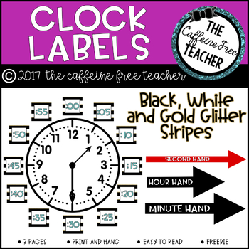 Black, White and Gold Stripe Clock Labels
