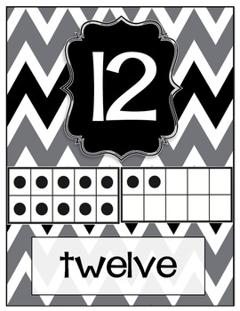 Black, White and Gray Chevron Number Cards 0-20