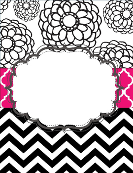 Black, White, and Hot Pink Editable Binder Covers
