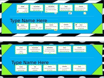 Black, White, and Neon Desk tag Name Plates - Reading tips- Editable