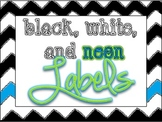 Black, White, and Neon Labels