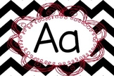 Black, White, and Pink Chevron Word Wall Letters