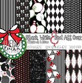 Black, White and Red All Over - Christmas Digital Paper