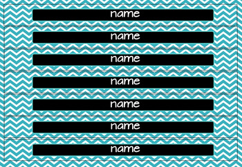 Black, White and Teal Big Tray Labels