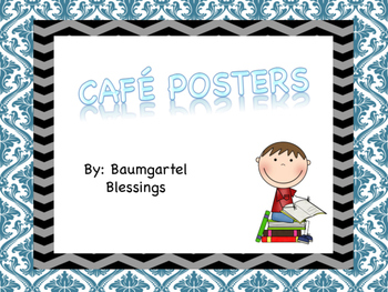 Black, White, and Turquoise Cafe Posters