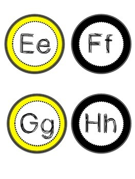 Black, White, and Yellow A-Z letters