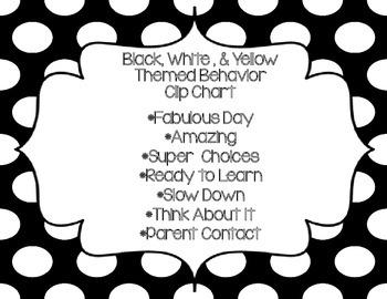 Black, White, and Yellow Behavior Clip Chart 3
