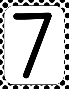 Black & White polka dots / Place Value Chart & Digit Cards / rounding / display