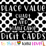 Black & White polka dots / Place Value Chart & Digit Cards