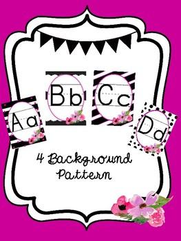 Black & White with Floral Classroom Alphabet Set
