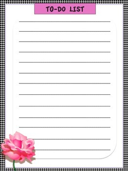 Black White with Pink Rose Teacher Binder Set