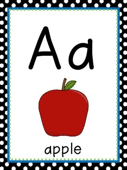 Black/ White (with blue and green accents) Polka Dot Alphabet Posters