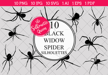 Black Widow Spider Silhouettes Clipart (AI, EPS, SVGs, JPGs, PNGs, PDF)