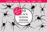Black Widow Spider Silhouettes Clipart (AI, EPS, SVGs, JPG