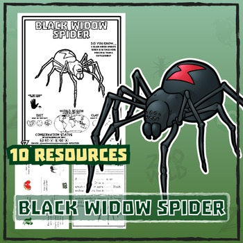 Black Widow Spider -- 10 Resources -- Coloring Pages, Reading & Activities