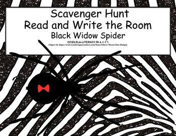 Science-Reading-Black Widow Spiders- Scavenger Hunt- Grades 4-7