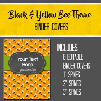 Black & Yellow Bumble Bee Theme Editable Binder Covers and Spines