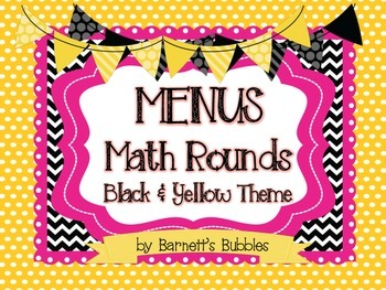 Black & Yellow Bumblebee Themed Math Center Posters and Signs