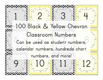 Black & Yellow Chevron Number Squares (calendar numbers) Bee Theme