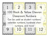 Black & Yellow Chevron Number Squares (calendar numbers) B