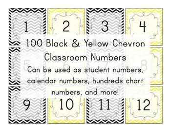 Black & Yellow Chevron Number Squares (calendar numbers) B