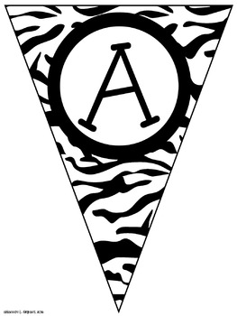 Black Zebra Classroom Pennants and Bunting (Letters, Numbers, Punctuation)