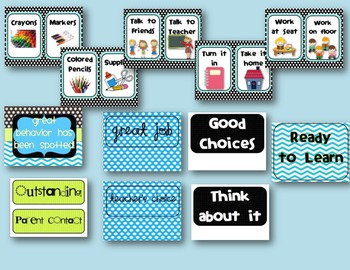 Black and Aqua Classroom Displays Pack