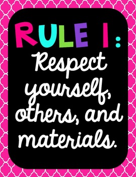 Black and BRIGHTS Classroom Rules - EDITABLE!