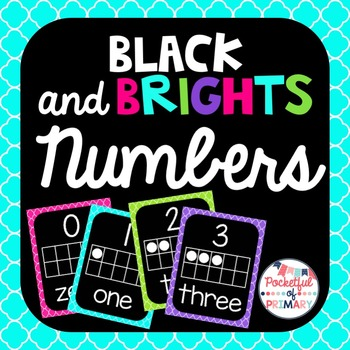Black and BRIGHTS Numbers Posters