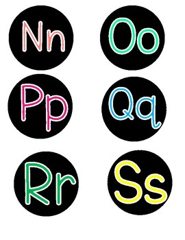 Black and BRIGHTS word wall letters!