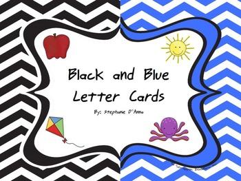 Black and Blue Chevron Alphabet Cards