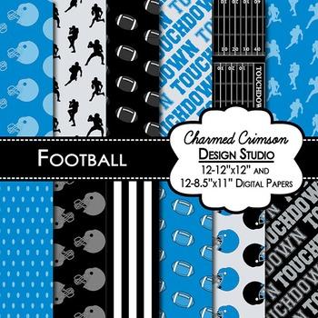 Black and Blue Football Digital Paper 1420