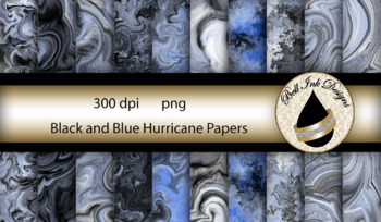 Black and Blue Hurricane Papers Clipart