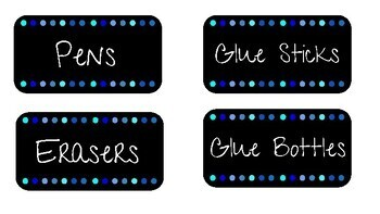 Black and Blue Supply Labels
