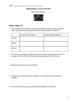 Black and Blue by Anna Quindlen - Study Guide Questions