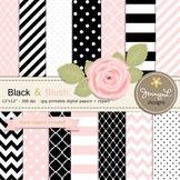 SET: Black and Blush Pink Digital Paper and Rose Flower Clipart