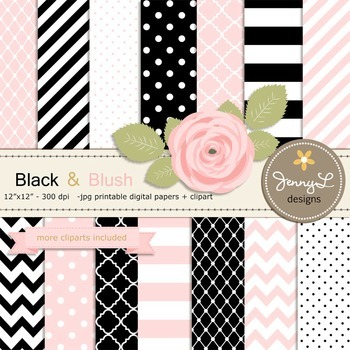 SET: Black and Blush Pink Digital Paper and Rose Flower Clipart