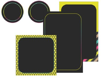 Black and Bold Brights Classroom Labels - EDITABLE