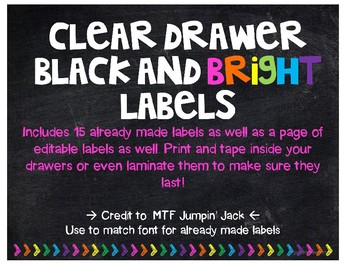 Black and Bright 3-Drawer Plastic Organizer  Labels