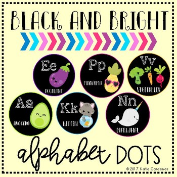 Black and Bright Alphabet Dots