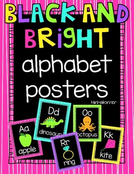 Black and Bright Alphabet Posters