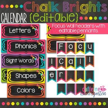 Black and Bright Chalkboard Calendar - Editable