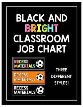 Black and Bright Classroom Job Chart