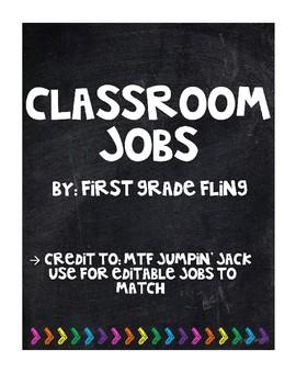 Black and Bright Classroom Jobs (editable)