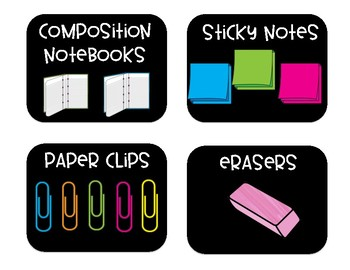 Black & Bright Classroom Supply Labels