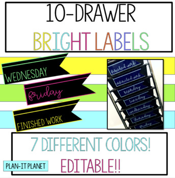 Black and Bright Labels for 10-Drawer Organizer! EDITABLE!!