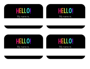 Black and Bright Name Tags